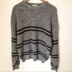 VINTAGE Black and White Marled Grandpa Sweater